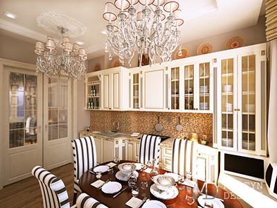 Дизайн кухни-столовой гостиной в стиле арт-деко
