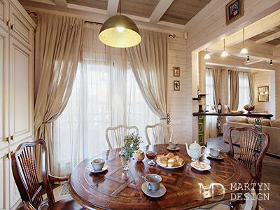 Дизайн интерьера гостиной в доме из клееного бруса