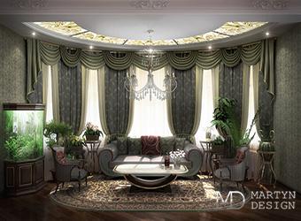 Интерьер английского кабинета с элементами стиля ампир