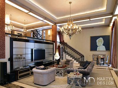 Дизайн интерьера гостиной в лестничном холле