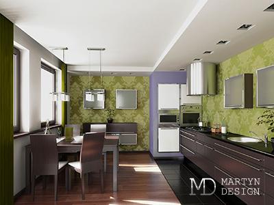 Дизайн кухни-столовой с шоколадными и мятными акцентами