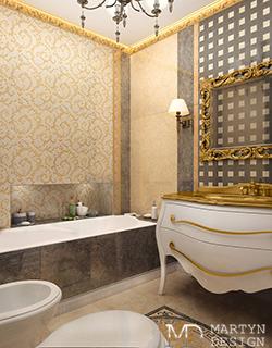 Легкая классика в интерьере ванной комнаты