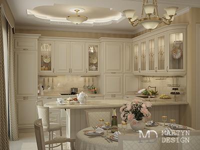 Дизайн белой кухни в стиле легкой классики