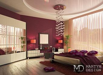 Интерьер богемной спальни с каскадными светильниками