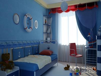 Дизайн интерьера спальни-кабинета для подростка в морском стиле