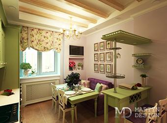 Дизайн салатовой гостиной в стиле прованс