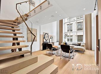 Интерьер гостиной-столовой в нью-йоркской квартире