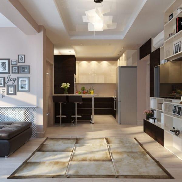 Дизайн гостиной совмещенной с кухней в современном стиле