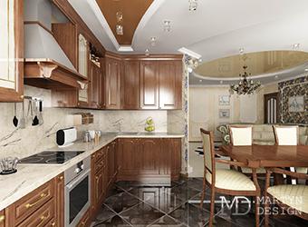 Интерьер кухни-столовой-гостиной