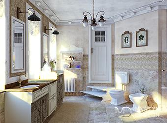 Дизайн светлой ванной комнаты в стиле прованс