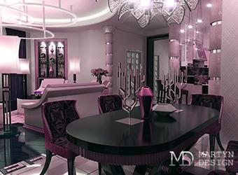 Интерьер лавандовой гостиной-столовой в стиле арт-деко