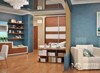 Морская прохлада в дизайне квартиры-студии