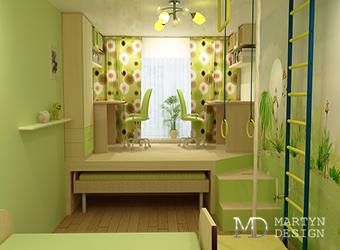 Дизайн интерьера небольшой детской комнаты с подиумом