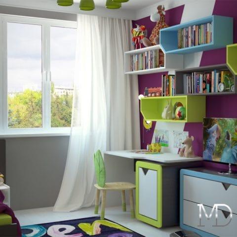 Интерьер детской комнаты 70м2