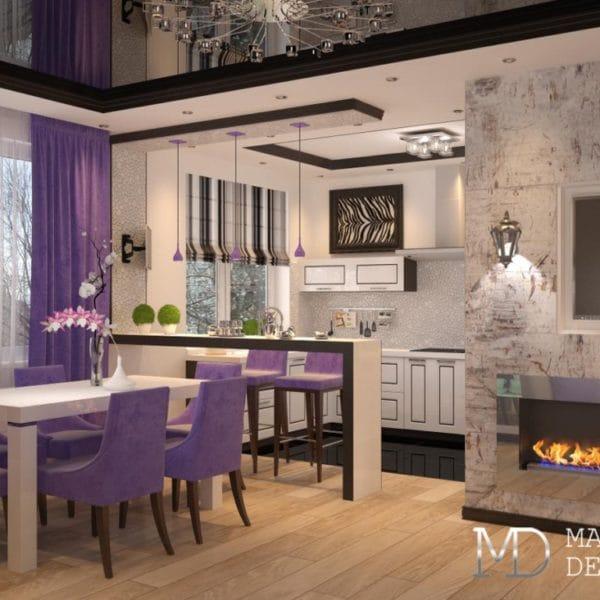 Дизайн проект кухни столовой в двухкомнатной квартире