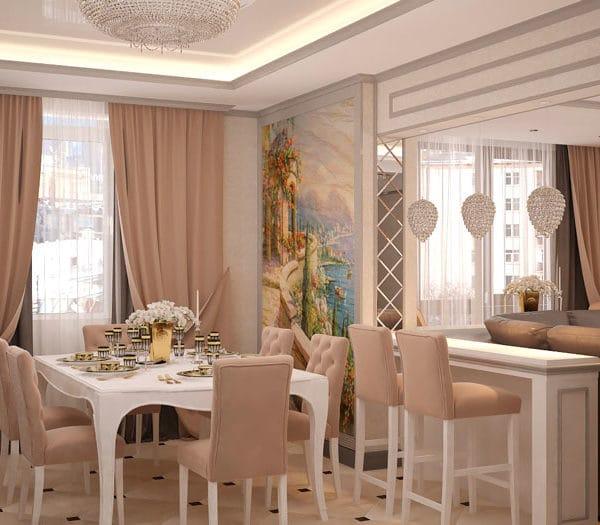 Дизайн кухни столовой в трехкомнатной квартире 85 кв м
