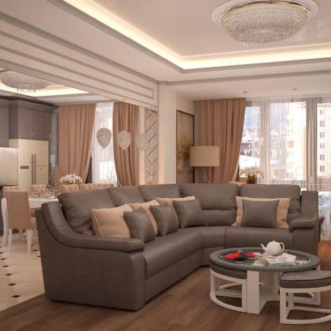 Дизайн проект 3 комнатной квартиры 85 кв м