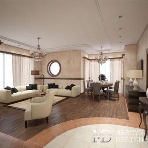 Дизайн проект гостиной в частном доме