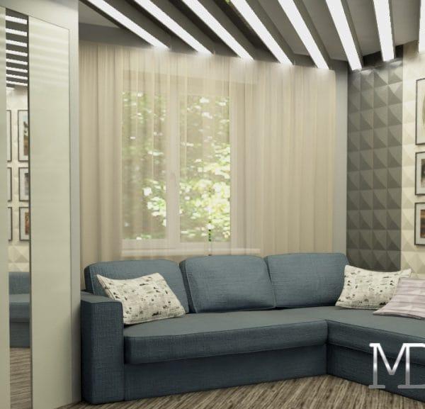 Дизайн гостиной комнаты в квартире размером 45 кв. м