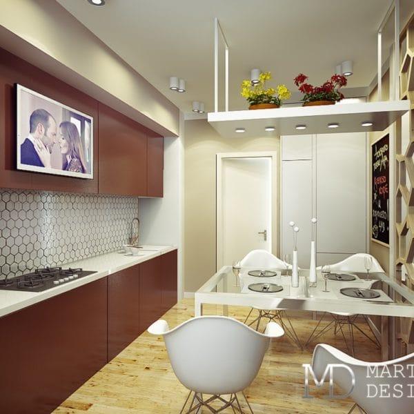 Дизайн проект кухни-столовой в доме серии п44т