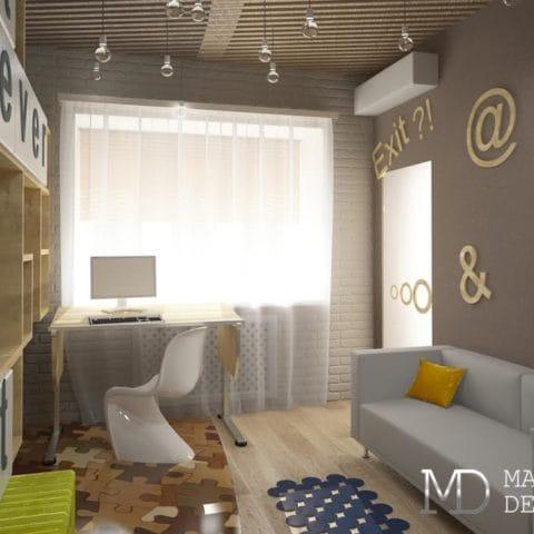 Дизайн рабочего места и комнаты отдыха в двушке 60 кв м