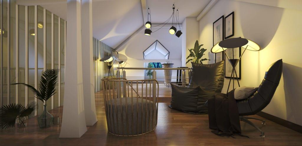 Дизайн второго этажа в загородном доме