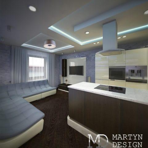 Интерьер кухни столовой в панельном доме