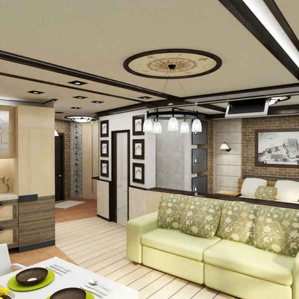 Дизайн однокомнатной квартиры 32 кв. м