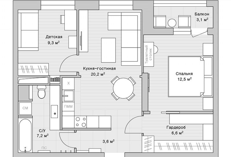 Перепланировка двухкомнатной квартиры с кухней- гостиной