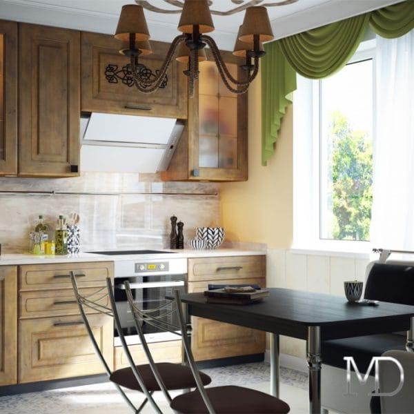 Дизайн кухни с фреской