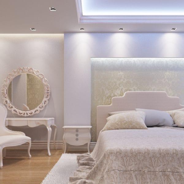 Дизайн-проект спальни в стиле современной классики