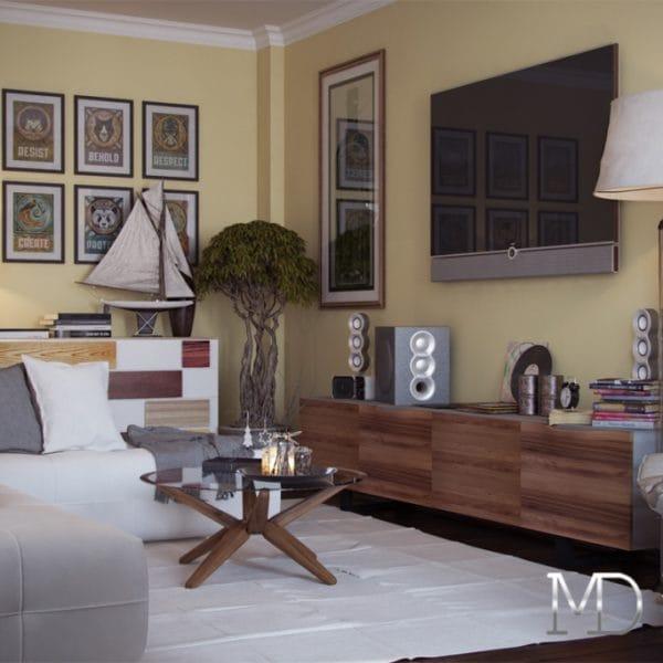 Дизайн двухкомнатной квартиры 42 кв.м. для мечтателей