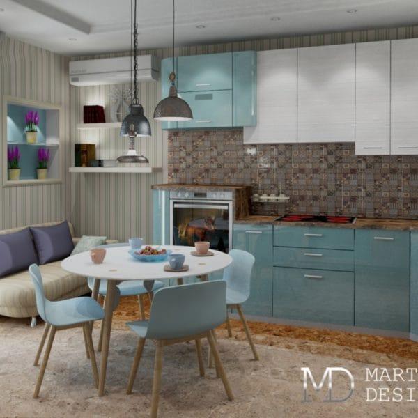 дизайн-проект кухни-гостиной в стиле прованс