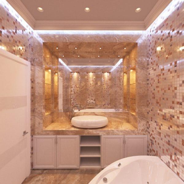 Дизайн-проект ванной в стиле современной классики