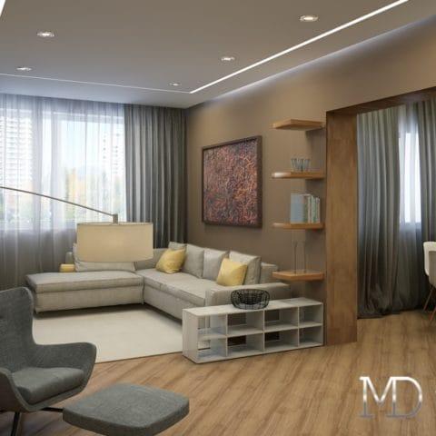 Интерьер 2 комнатной квартиры размером 50 м2