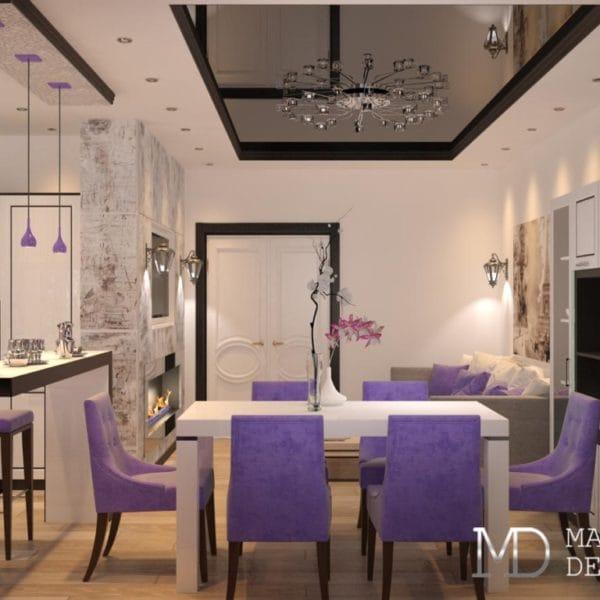 Дизайн двухкомнатной квартиры 44 кв. м в стиле модерн