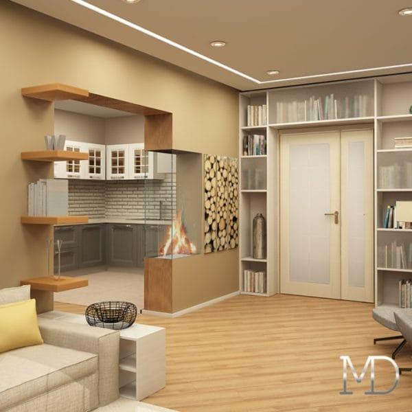 Дизайн проект интерьера двухкомнатной квартиры 50 м2