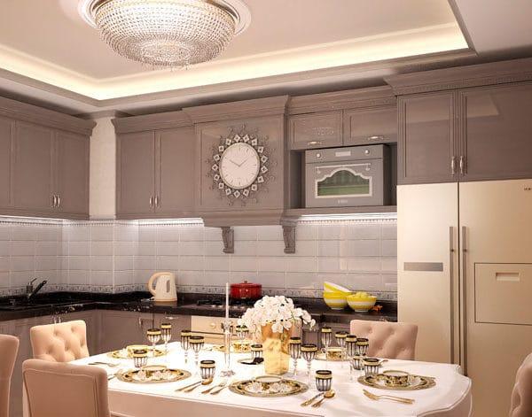 дизайн кухни в трешке 85 м2
