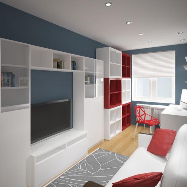Дизайн проект интерьера однокомнатной квартиры п44т