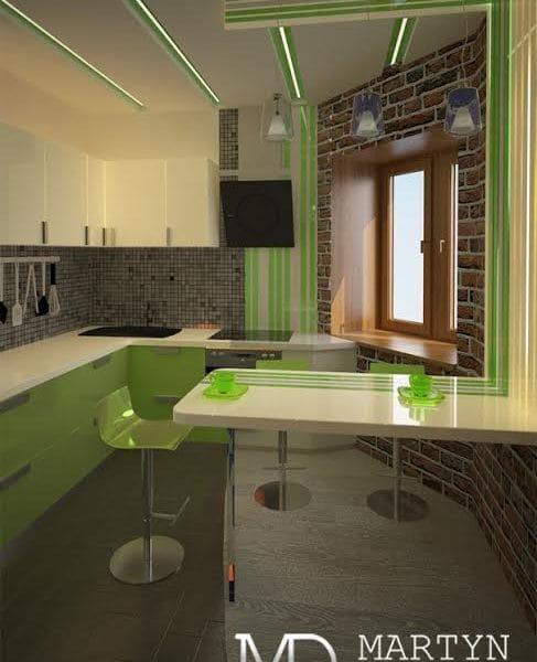 Дизайн проект кухни в двухкомнатной квартире 60 кв. м