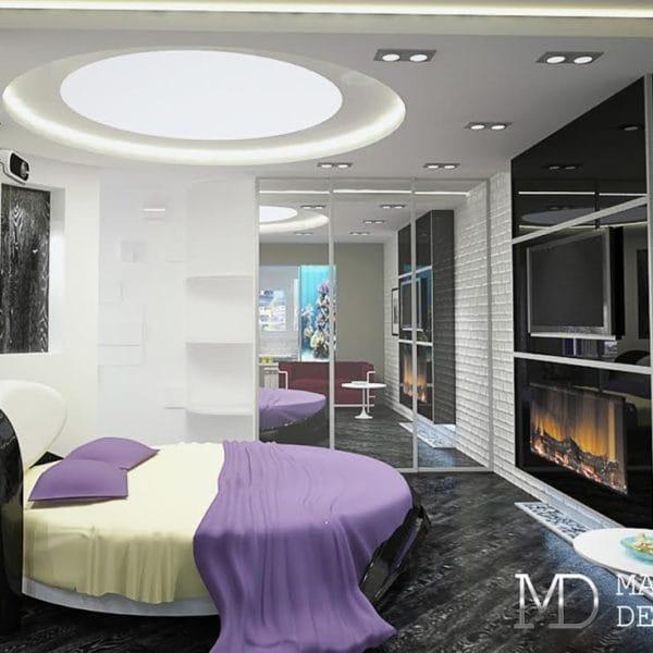 Дизайн однокомнатной квартиры 35 кв м в стиле хай-тек