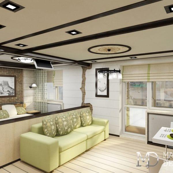 Дизайн интерьера однокомнатной квартиры 32 м2