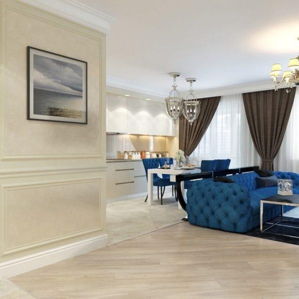 Дизайн четырехкомнатной квартиры-хрущевки 100 кв.м. с нотками классики и модерна