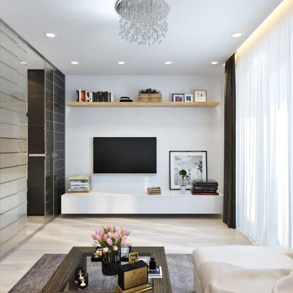 Дизайн проект двухкомнатной квартиры 52 кв. м