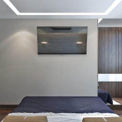Дизайн спальни в большой трехкомнатной квартире