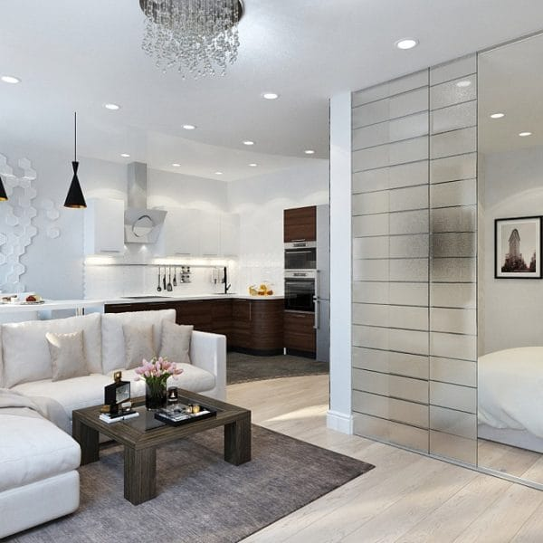 Оформление интерьера двухкомнатной квартиры 52 м2
