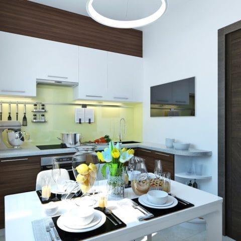 дизайн кухни столовой в трехкомнатной квартире
