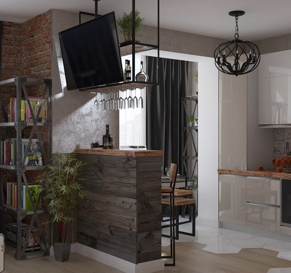 Дизайн интерьера однокомнатной квартиры 33 кв .м