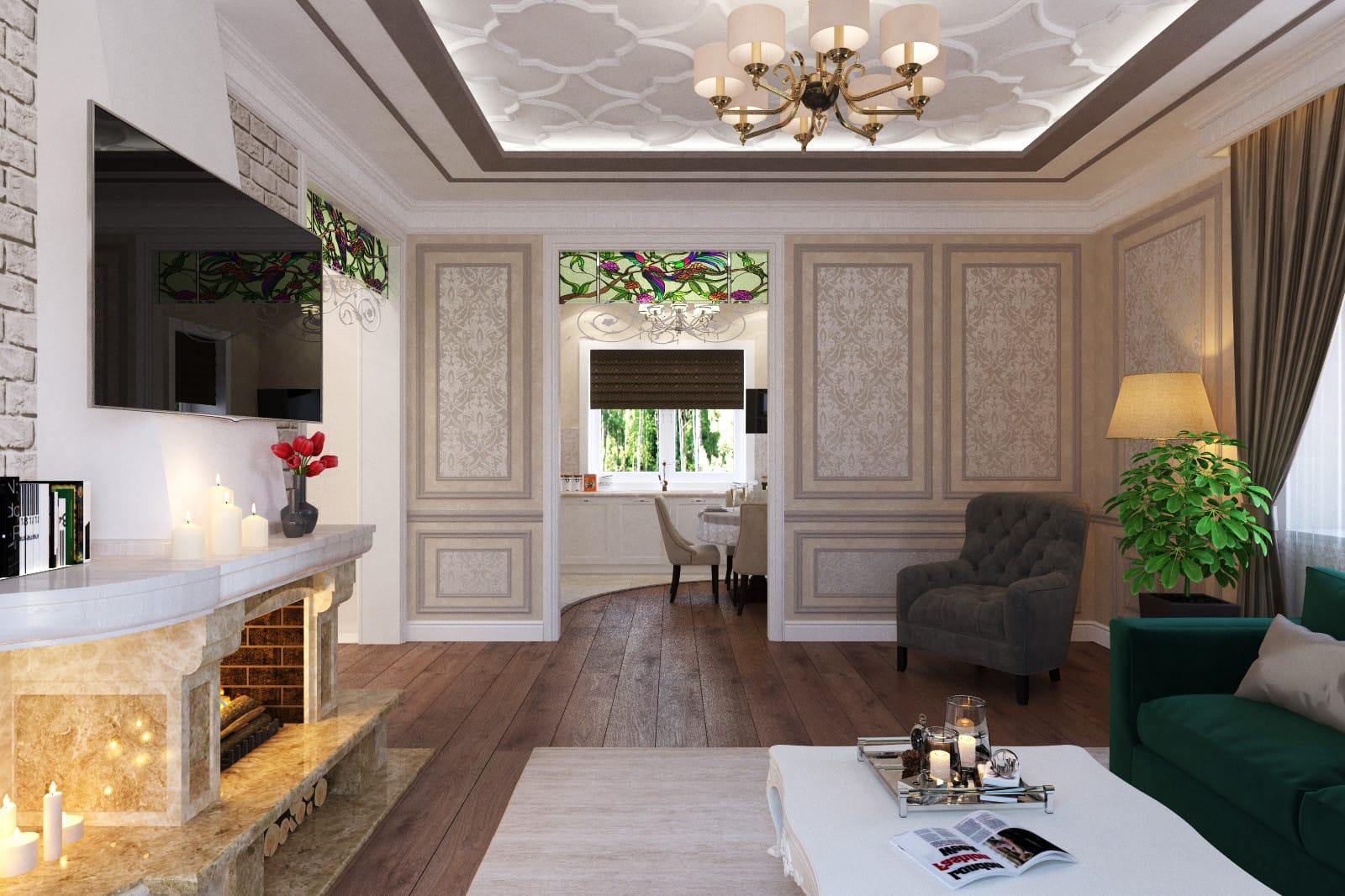 Дизайн потолка и пола в классическом стиле