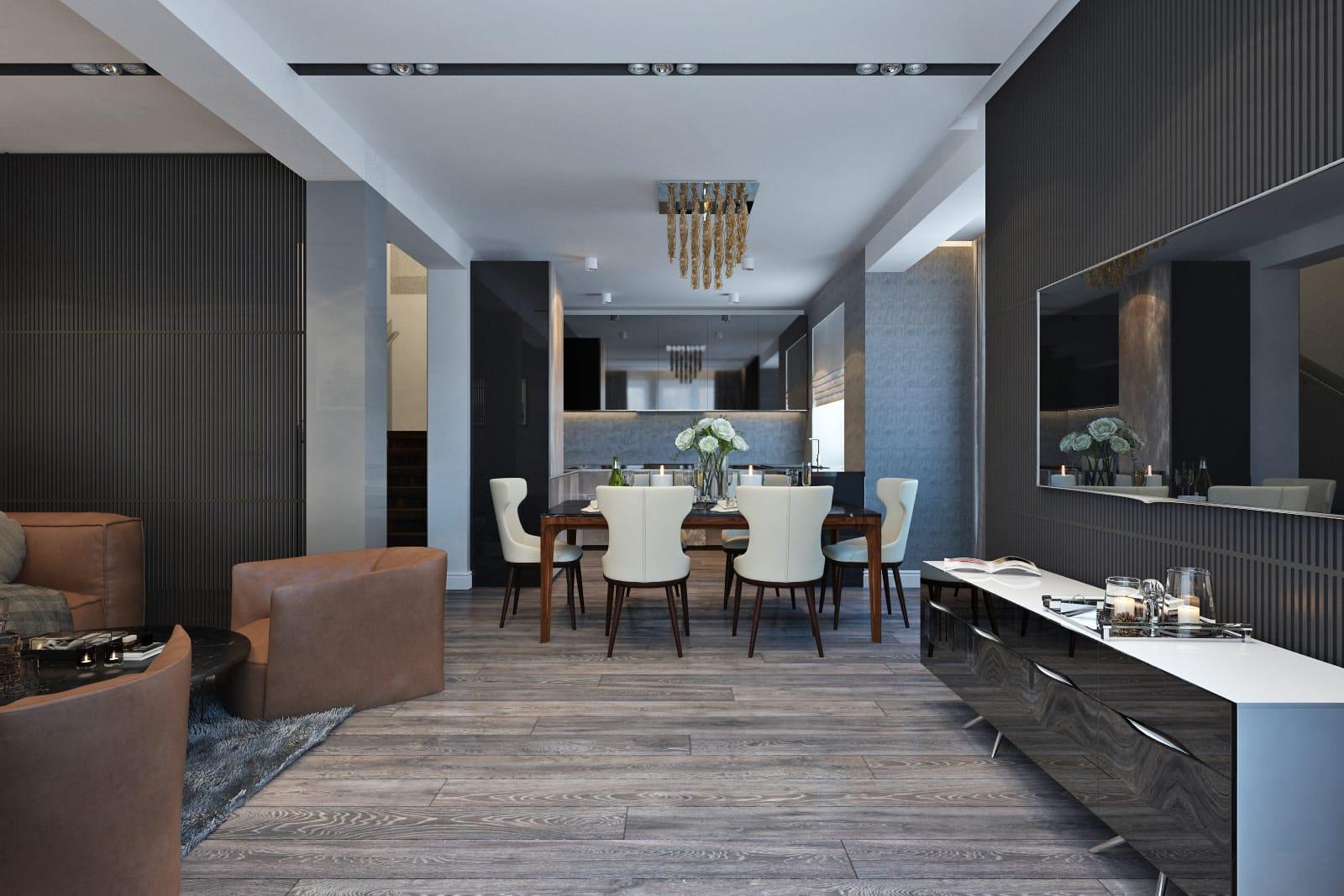 Кухня, столовая и гостиная в стиле модерн